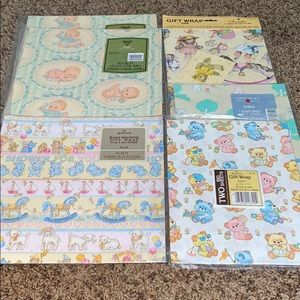 6 Vintage Baby Shower Wrapping Paper. 1980s